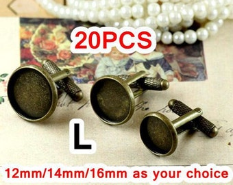20 Cufflinks- Brass Antique Bronzed Screw Thread Cufflink W/ Round Bezel Cup Mountings, 12mm/ 14mm/ 16mm as your choice
