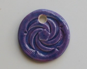 Handmade Ceramic Purple Pendant 5