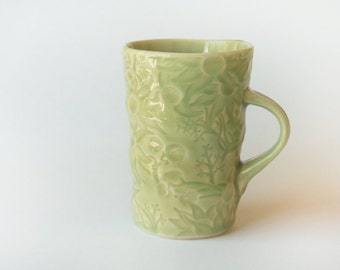 Celadon pale green Mug with Australian Flannel Flowers