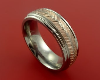 14k Rose Gold and Titanium Feather Carved Band Custom Rings Made to Any Sizing and Finish 3-22