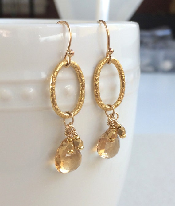 Champagne Citrine Dangle Earrings, Perfect Golden Earring for Bridesmaids