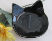 Black Cat Dish Handmade Ceramic Pottery Ring Holder  Second Stoneware Bowl