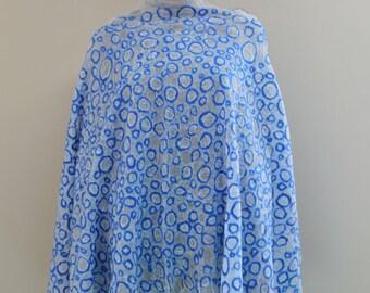 Nuno felted white silk scarf, handmade silk wool nunofelt scarf, felted shawl, felted eco, circles , gift idea, made in Europe blue scarf