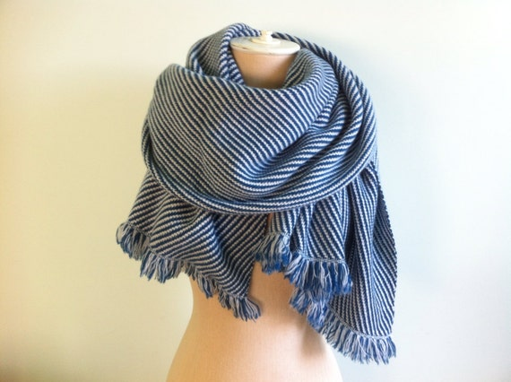 Nautical Striped Marine Blue and Cream- Extra Large Cashmere Scarf