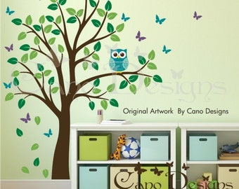 Tree Wall Decal,  Owl Decal, Butterflies Wall decals,  Vinyl Wall Decal, Removable Wall  Decals, Wall stickers, nature decals