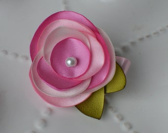 Pretty Pink Simple Satin Rose Flower- Also available in Pink and Purple and Jewel Tones Combination