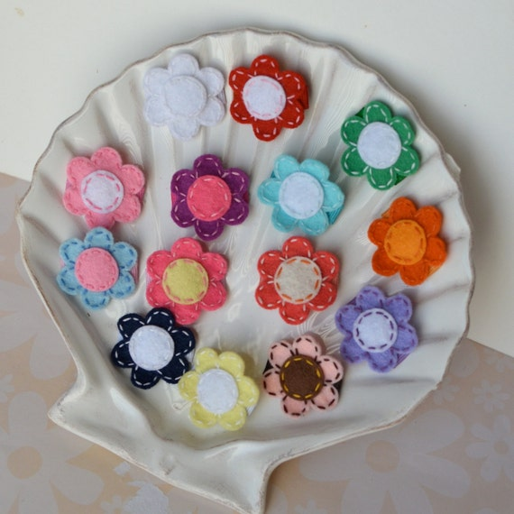 Little Felt Flower Daisy Baby Snap Clip for Fine Hair or Peach Fuzz- Your Choice- New Colors Available