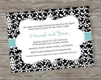 """Bridal/Wedding Shower invitations - Digital file """"Toile Shower"""" design"""