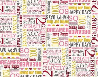 Riley Blake Designs Remember Words Cream Fabric 1 yard