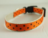 Hemp Dog Collar - Black Dots on Orange - 3/4in