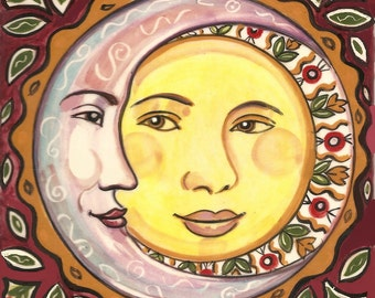 Sun and Moon Ceramic Tile Plaque