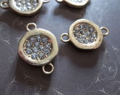 Jewelry Connectors - Round Gold with Bezel Pave Rhinestone Center - 17 x 26mm - 4 pieces