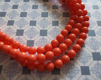 6mm Round Coral Czech Glass Beads - Qty 42