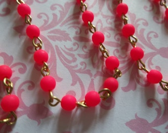 Bead Chain Opaque Hot Pink 4mm Fire Polished Glass Beads on Brass Beaded Chain - Qty 18 Inch strand