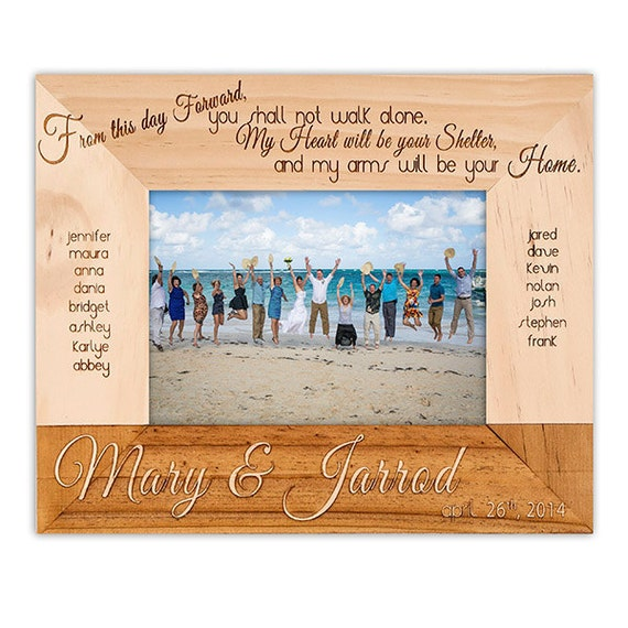 Engraved Picture Frames Wedding Favors : Wedding Frame- Wedding Party Picture Frame-Wood Engraved-Wedding ...