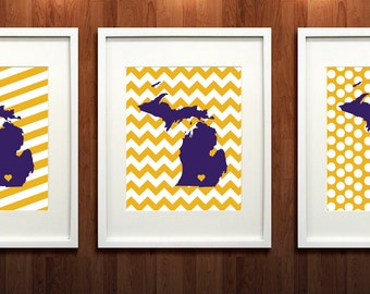Albion, Michigan GicléeSet of Three State Prints - Graduation Gift Idea - Dorm Decor
