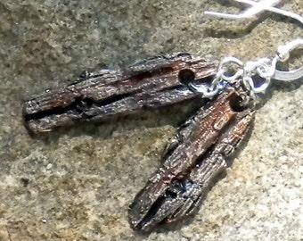 THE DREAM CIRCLE . wabi sabi . cast silver . juniper bark . earrings - sale