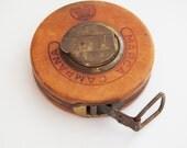 Vintage Marca Campana Leather and Steel Tape Measure