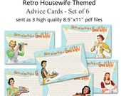 Printable 1950's Retro Housewife Bridal Shower Advice Cards - Set of 6 designs