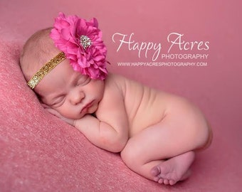 PINK peony newborn headband, newborn photography prop, toddler headband, girl headband