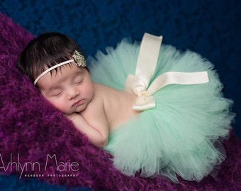 Tutu with headband, newborn tutu, Mint tutu, newborn photography prop, baby tutu, birthday tutu, tutu and headband