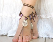 Barefoot sandals, Bohemian foot jewelry, Hippie Barefoot sandal with mother of pearls and natural shell, barefoot sandles, bare foot sandal
