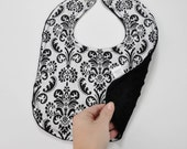 SALE Black & White Damask Bib with Black Minky Reverse Baby Snap Bib Girly Baby Bib Classic Baby Bib Toddler Bib Soft Bib