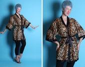 KILLER Savage Sexbomb 1960's Slinky Nylon TIGER Print Hourglass Boudoir Kimono Style Robe w/ Tie Belt by Frederick's of Hollywood - One Size