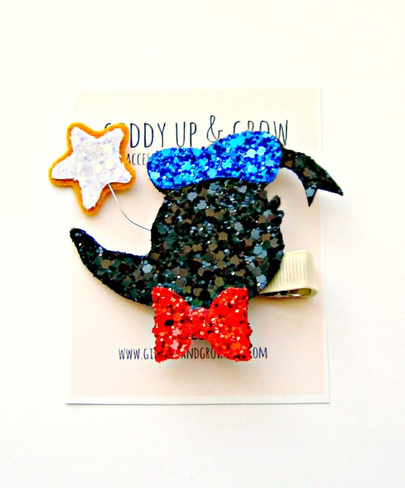 Donald Duck Hair Clip - Glitter Donald Duck with Star, Giddy Up and Grow
