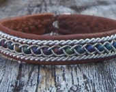 Beaded Leather Bracelet, Reindeer Leather and Pewter Bracelet For Men or Women, Sami Jewelry, Sweden, Lapland, Norway, Finland
