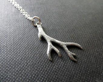 Sterling Silver Deer Antler necklace, nature jewelry, Antler pendant