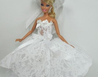 Barbie Doll Fashion flower Gown Dress and hat Royalty W36