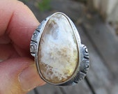 Native American Inspired Plume Agate Sterling Silver Ring - Size 8-1/2