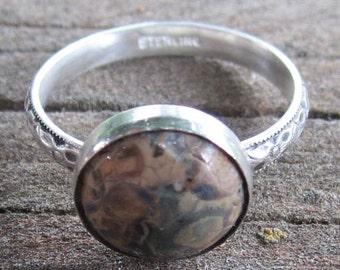 Native American Inspired Leopardskin Jasper Sterling Silver Ring - Size 9-1/2