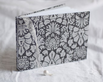 Black & silver damask guest book metallic coptic bound wedding album
