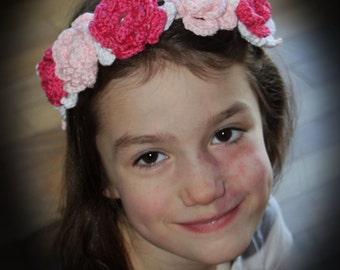 Roses Crown/Headband with Leaves pdf PATTERN (digital download), crochet, newborn to adult sizes, photo prop, wedding, girls, women