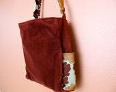 Sam:  Upholstery Velvet Large Tote, Rust, Lap Top, Travel, Retro, Knitting