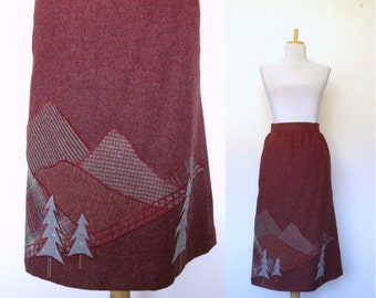 Vintage 70s burgundy embellished wool skirt landscape (size 9 / medium)