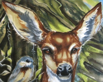Deers and Birds with Blue Fleece Blanket - Ready to Ship Now