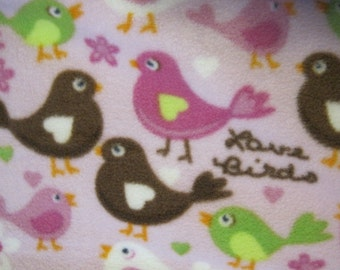 Pretty Birds on Pink with Green Fleece Blanket - Ready to Ship Now
