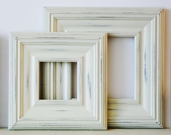 Sizes 4x4 to 8x8 Wood Picture Frame / Vintage White or Blue / Whistler Style