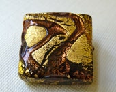 Vintage Murano 24k Gold Foiled Black Glass with Copper Brown Trails 20mm Square - Beautiful Double Sided Focal Bead
