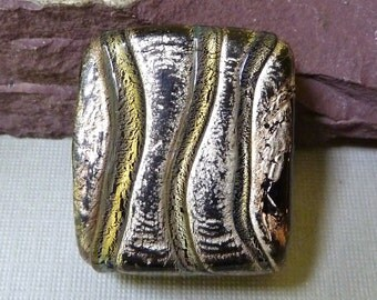 Silver Foil Black Glass Rustic Rectangle Bead - Yellow Green Trails -  35mm x 29mm  - Heavy Large Double Sided Murano Venetian Bead