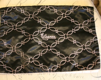 Black & Pink Satin Embroidery Eleanor Large Lingerie Envelope