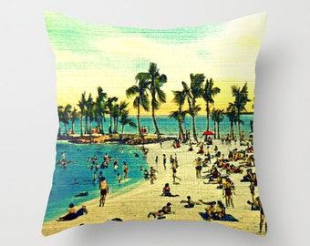 Beach Decor Coastal Pillow, Decorative Pillow, Beach House Pillow, Throw Pillow Cover 18x18 Beach Decor, Palm Trees Pillow, Beach Pillow