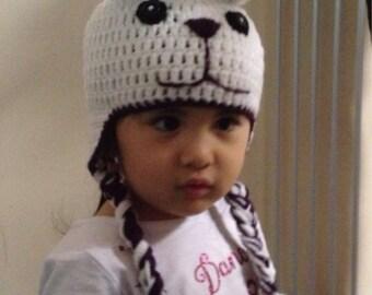 Cutest crochet animal hat, baby girl bunny hat, earflap beanie for a girl