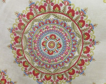 MARGARITA suzani multicolor  multipurpose linen base fabric