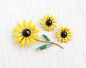 SALE- Vintage Yellow Enamel Flower Brooch & Clip On Earrings- Demi Parure Yellow, Green, and Black Mod Floral Costume Jewelry Daisy Set