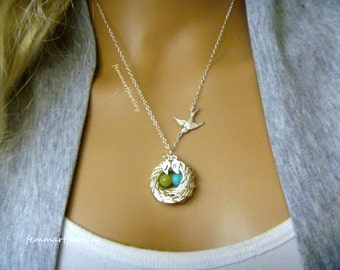 Birds Nest Necklace - Birth Stone Eggs - Leaf Initial - Family of Birds - Mother's Day Gift - Mother of the Bride - Mommy Necklace - femmart
