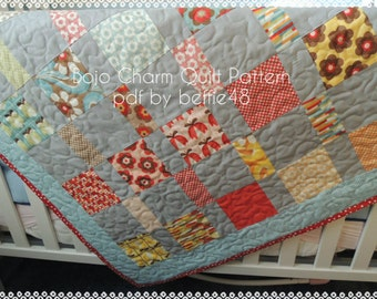 DIY Boho Charm Pack Easy Quilt Pattern Tutorial w photos, pdf.
